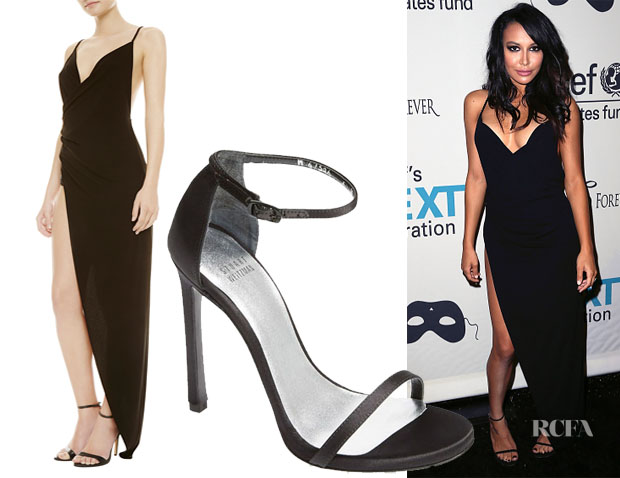 Naya Rivera's La Perla Limited Edition Glimmering Soutache Beachwear Dress & Stuart Weitzman Nudist Sandals