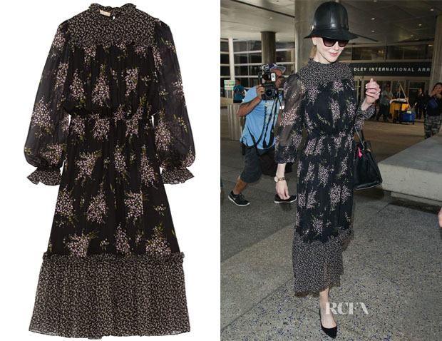 Nicole Kidman's Michael Kors Floral-Print Silk-Chiffon Midi Dress