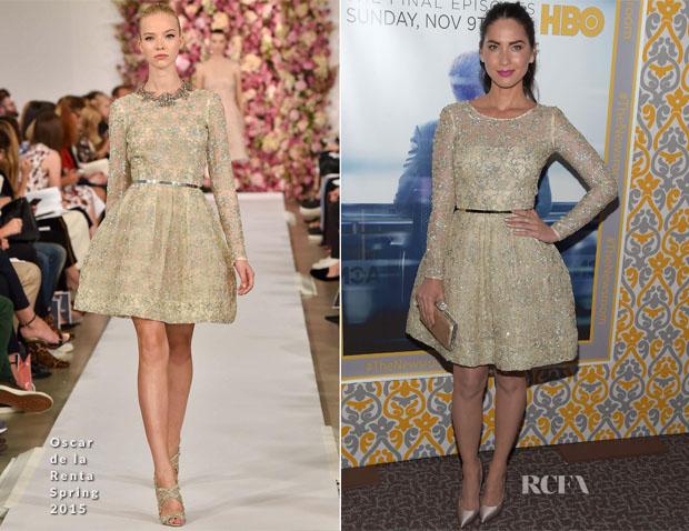 Olivia Munn In Oscar de la Renta S15 -  'Newsroom' Season 3 Premiere
