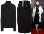 Olivia Wilde's Rag & Bone Mikayla Ribbed Wool Turtleneck & David Koma Stripes Skirt