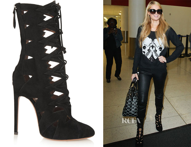 Paris Hilton's Alaïa Cut Out suede boots