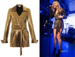 Pixie Lott's Diane Von Furstenburg Mia Metallic Wrap Playsuit
