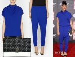 Rashida Jones' Camilla and Marc Agility Top, Download Trousers & Proenza Schouler Woven Two-Tone Lunch Clutch