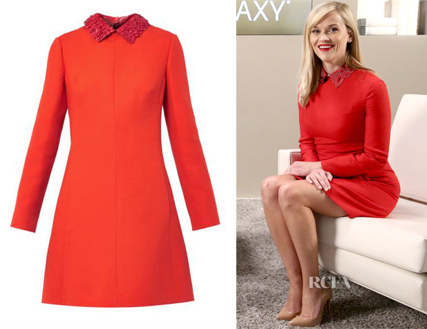 Reese Witherspoon's Valentino Leather Collar Red Dress