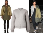 Rihanna's Étoile Isabel Marant Flor Double-Breasted Quilted Coat & T by Alexander Wang Varsity Jacket