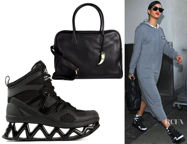 Rihanna's Balmain Pierre 24 Hours Leather Tote & Marc by Marc Jacobs Ninja Sneakers