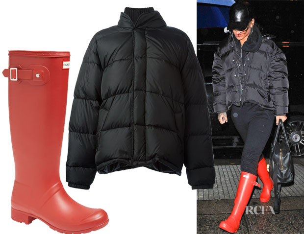 Rihanna's Hunter 'Tour' Packable Rain Boots & Maison Martin Margiela classic padded jacket