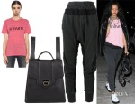Rihanna's Rodarte Radarte T-Shirt, Reece Hudson Siren Backpack & Haider Ackermann Drop Crotch Tapered Trousers
