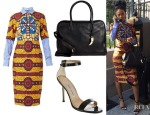 Rihanna's  Stella Jean 'Barbara' Sheath Dress, Balmain Pierre 24 Hours Leather Tote & Manolo Blahnik Chaos Sandals