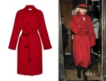 Rita Ora's  Isa Arfen Belted Wool and Cashmere-Blend Coat