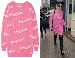 Rita Ora's Moschino Logo-Detail Sweater Dress