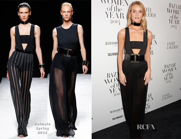 Rosie Huntington-Whiteley In Balmain - Harper's Bazaar Women of the Year Awards