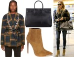 Rosie Huntington-Whiteley's Isabel Marant Ochre Embellished Milroy Coat, Saint Laurent Classic Sac De Jour Leather Tote & Saint Laurent Paris Heeled Cowboy Ankle Boots