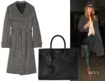 Rosie Huntington-Whiteley's The Row Magdalena Wrap Coat & Saint Laurent Sac De Jour Leather Tote