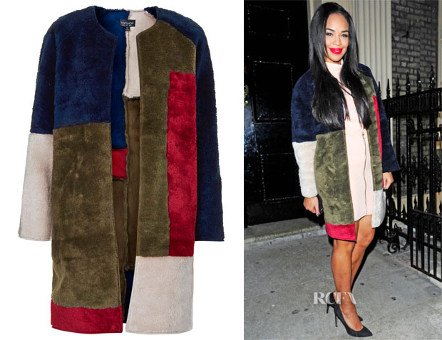 Sarah-Jane Crawford's Topshop Faux Fur Patchwork Throw On Coat