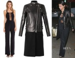 Selena Gomez' Carmella Ines Jumpsuit & Givenchy Leather and wool biker coat