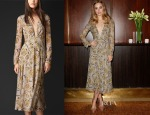 Suki Waterhouse Burberry Prorsum Floral Print Layered Silk Dress