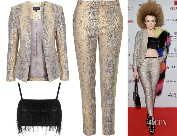 Tallia Storm's Topshop Metallic Snake Blazer & Trousers and Topshop Feather Bralet