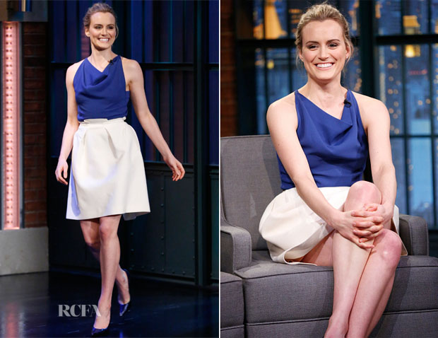 Taylor Schilling In Roland Mouret - Late Night with Seth Meyers