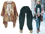 Taylor Swift Topshop Checked Cape & Topshop CHUNKY CABLE KNIT POM SCARF