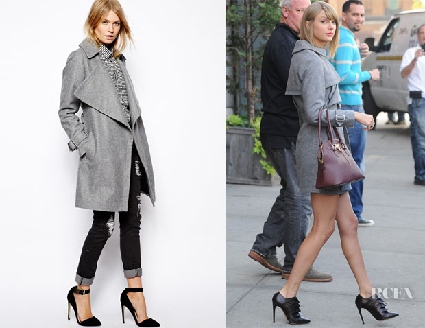 Taylor Swift's ASOS Grey Waterfall Drape Wool Coat