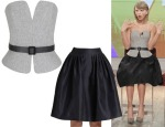 Taylor Swift's Martin Grant Felted-Wool Bustier & Pleated Bell Skirt