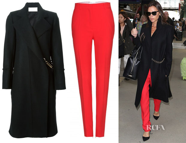 Victoria Beckham's Victoria Beckham Chain-Detail Coat & Red Tailored Pants