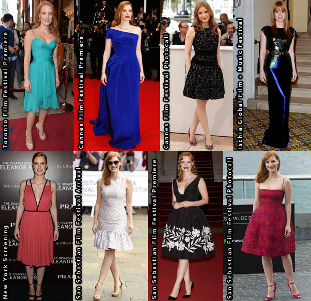 Which Was Your Favourite Jessica Chastain 'The Disappearance Of Eleanor Rigby' Promo Tour Look