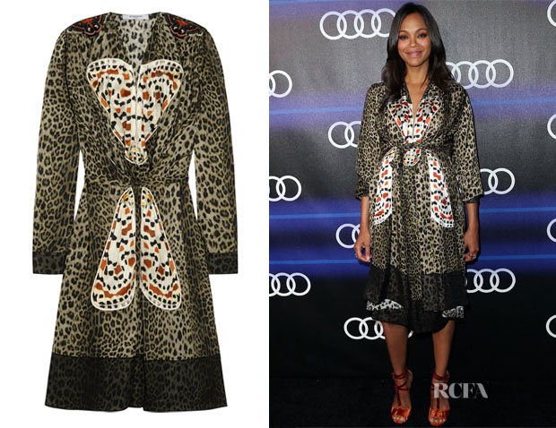 Zoe Saldana's Givenchy Leopard-Print Silk Dress with Butterfly Appliqué