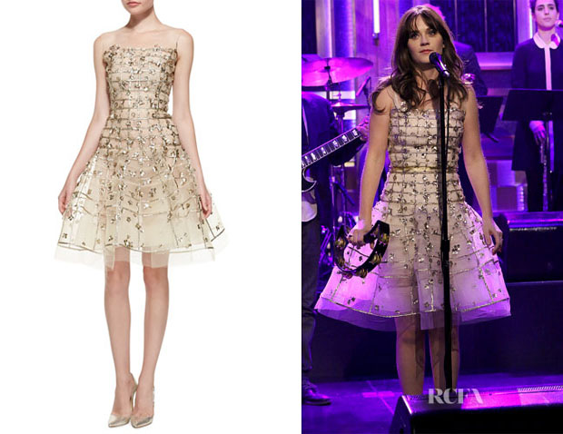 Zooey Deschanel's Oscar de la Renta Gold Sequin Embroidered Flare Dress