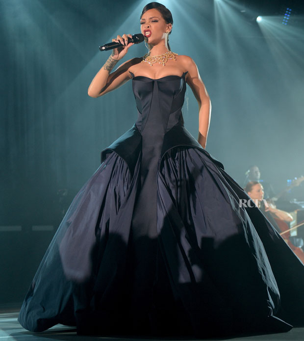 Rihanna In Zac Posen - First Annual Diamond Ball for the Clara Lionel Foundation Performance