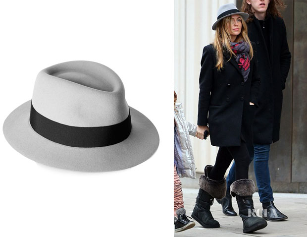 Abbey Clancy's Maison Michel Andre grosgrain-trimmed rabbit-felt trilby