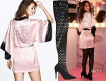 Alessandra Ambrosio's Victoria's Secret Fashion Show Wrap & Tamara Mellon Duty Free High Cut-Out Stretch-Suede Thigh Boots