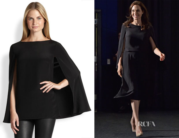Angelina Jolie's Ralph Lauren Black Label Noelle Silk Cape Blouse