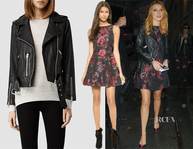 Bella Thorne's AllSaints Balfern Leather Biker Jacket & Alice + Olivia Jorah Box Pleat Floral Dress