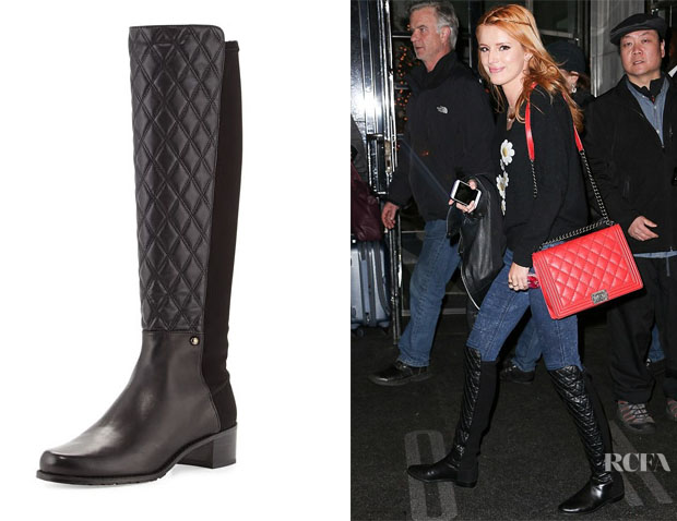 Bella Thorne's Stuart Weitzman Guard Quilted Leather Knee Boots