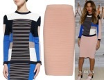 Beyonce Knowles' Jonathan Simkhai Ribbed Mixed-Knit Colorblock Sweater & Jonathan Simkhai Ribbed-knit pencil skirt