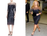 Beyonce Knowles' Monique Lhuillier 3/4-Sleeve Sequined Illusion-Trim Sheath Dress