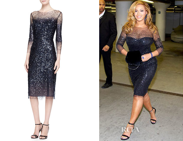 Beyonce Knowles Monique Lhuillier Sleeve Sequined Illusion-Trim Sheath Dress