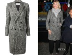 Cameron Diaz' Saint Laurent Double Breasted Tweed Coat