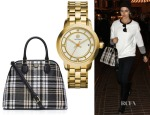 Camilla Belle's Tory Burch Robinson Plaid Open Dome Satchel & Tory Burch Tory Watch