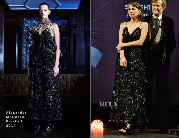 Carey Mulligan In Alexander McQueen Pre-Fall 2014 - 2014 London Evening Standard Theatre Awards