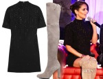 Cheryl Fernandez-Versini's Christopher Kane Swarovski crystal-embellished wool-crepe mini dress & Stuart Weitzman 'Highland' Over the Knee Boot