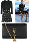 Coleen Rooney's Victoria Victoria Beckham Ladybug Appliqué Dress & Saint Laurent Monogramme Tassel Bag
