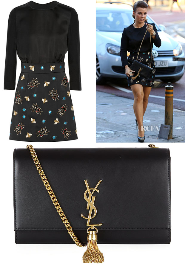 Coleen Rooney's Victoria Victoria Beckham Ladybug Appliqué Dress & Saint Laurent Monogramme Tassel Satchel