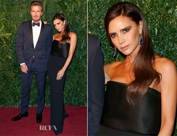 David Beckham & Victoria Beckham In Victoria Beckham - 2014 London Evening Standard Theatre Awards