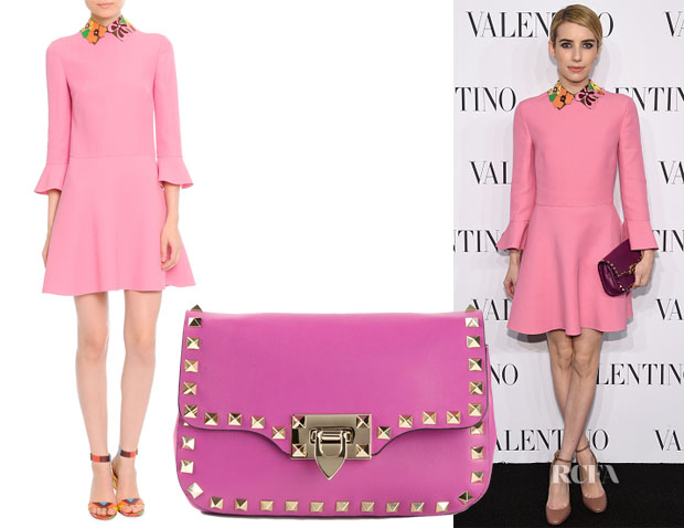 Emma Roberts' Valentino Leather-Collared Dress & Valentino 'Rockstud' Satchel