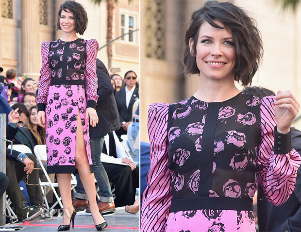 Evangeline Lilly In Emanuel Ungaro - The Hollywood Walk of Fame Honoring Sir Peter Jackson