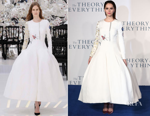 Felicity Jones in Christian Dior Couture - 'The Theory of Everything' London Premiere