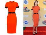 Hilary Swank's Mugler Mega Milano stretch-jersey dress